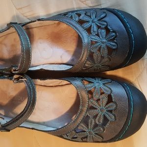 Jambu charcoal with teal trim Mary Jane Shoes